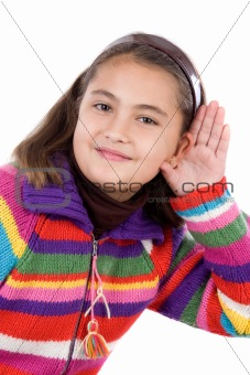 Adorable girl hearing