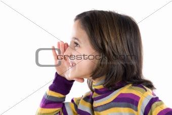Beautiful girl whispering a secret