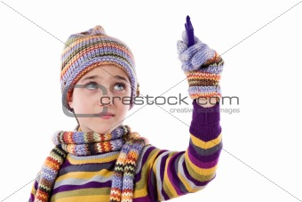 Adorable little girl with clothes for the winter writing