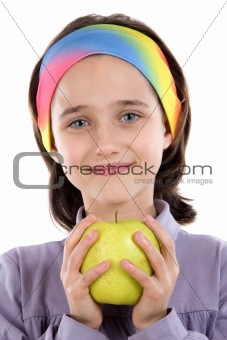 Adorable girl with a apple