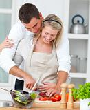 Modern romantic couple preparing a meal