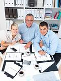 Happy modern business team - looking up at you