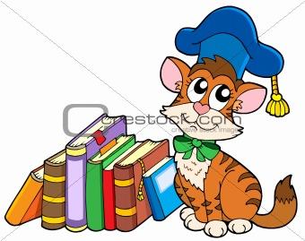 Cat teacher with books