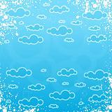 Grungy retro cloudscape frame
