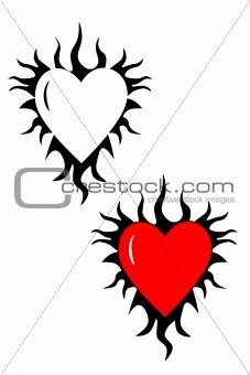 Flaming heart tribal tattoo