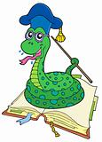 Snake teacher in open book