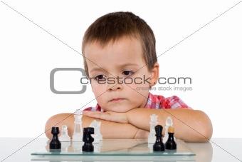 Boy solving a problem