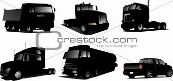 Six Vector illustration of trucks