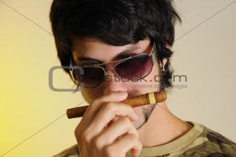 Smelling cigar
