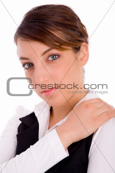 close view of businesswoman looking at camera