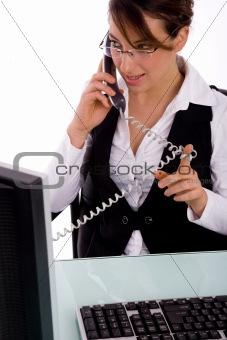 portrait of businesswoman doing work