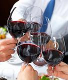 Closeup of people toasting glass of whine