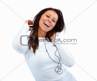 young woman listening to music isolated on white background
