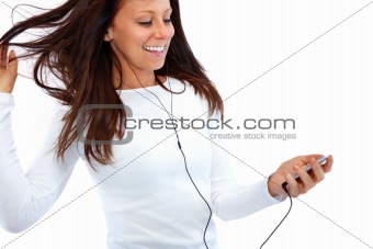 Fresh modern  woman listening to music