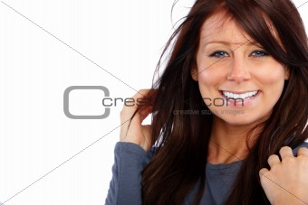 Portrait of a  brunette woman with  copyspace