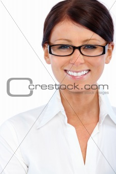 Headshot of a friendly woman wearing glasses