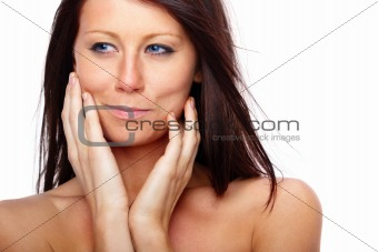 Beauty - Woman looking at you touching her  chin