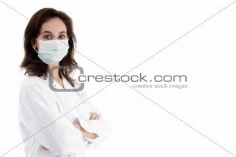 pose of doctor in facemask