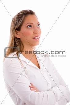 portrait of businesswoman looking up