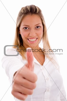 portrait of smiling manager showing thumb up