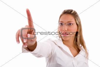 portrait of businesswoman looking her finger