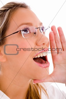 close up of shouting businesswoman