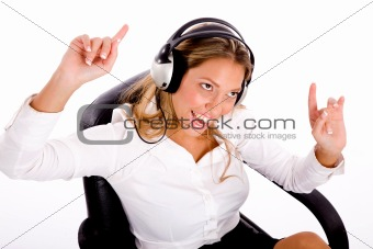 top view of manager enjoying music