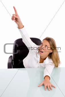 top view of businesswoman pointing up