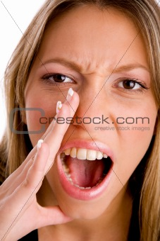 close up of shouting young woman