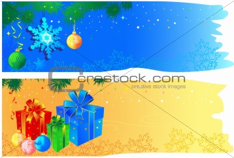 Christmas banners with space for your text.