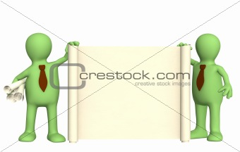 3d puppets with roll of document