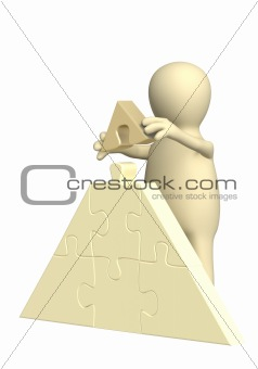 3d puppet, making a pyramid from puzzles