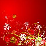 Christmas floral background, vector