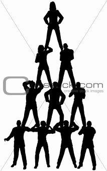 Business people pyramid