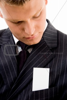 businessman looking at business card