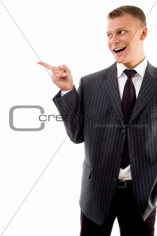 corner view of pointing businessman