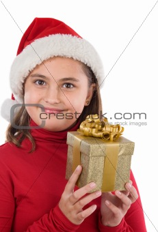 Beautiful girl with presents of christmas