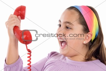 Beautiful girl with red telephone very happy for good news