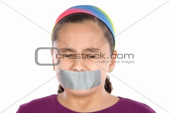 Beautiful girl with adhesive on her mouth and closed eyes