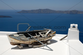 Old  boat at Santorini Island, Greece