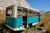 Old abandoned bus in Santorini, Greece