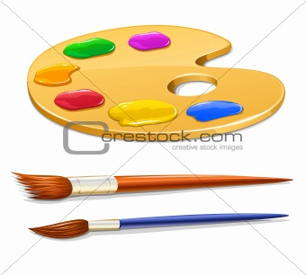 art palette with paint and brushes