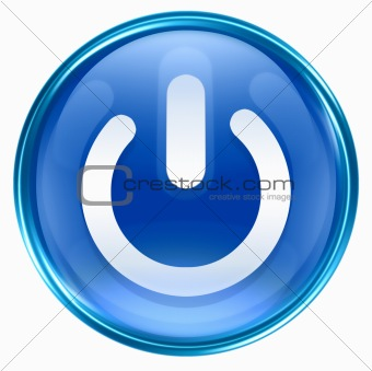 power button blue, isolated on white background.