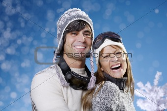 happy ski couple