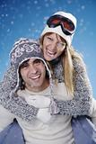 happy winter couple