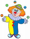 Juggling cartoon clown