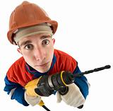 Laborer with drill