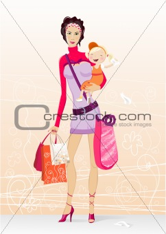 shopping mother