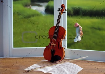 Violin and window