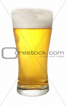 A glass of beer with thick head